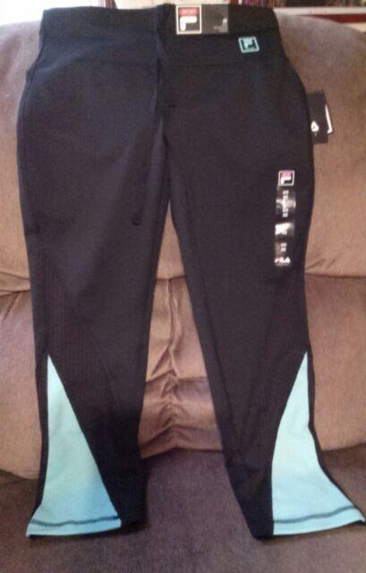 485a8dc67cf6 Fila Sport Crop Pants Mid Rise Size XS Athletic Tru-Dry NWT Beach Glass  Black