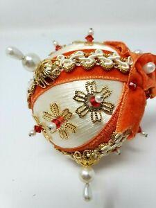 "Vintage Christmas Homemade Silk Sequin Ornament 3"" bulb"