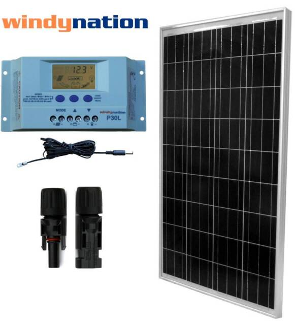 Eco Solar Kit: 100W Watts Solar Panel Off Grid 12V RV Boat Home Solar System