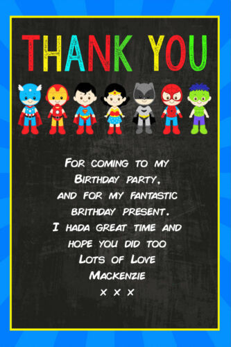 Personalised DC Marvel Superhero Birthday Thank You Cards inc envelopes  SG19TY