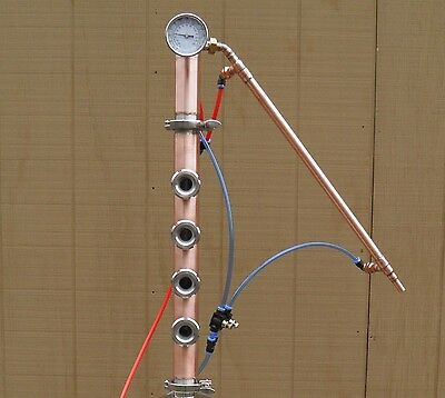 """8 gallon copper boiler with 2"""" Copper Reflux, Mini Flute with Cooling system"""