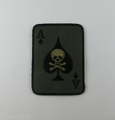 ACE OF SPADES SKULL EMBROIDERED SEW IRON ON PATCH BIKER T-SHIRT