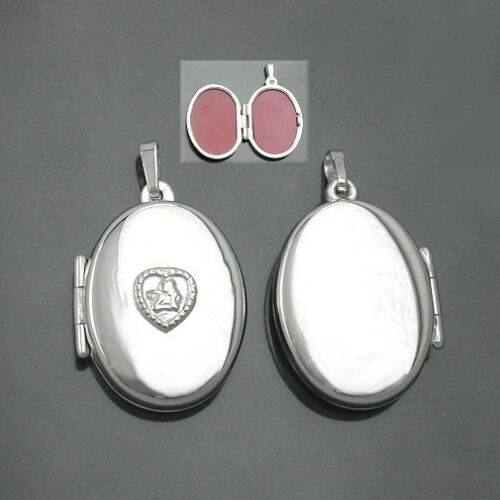 Medaillon Schutzengel im Herz Bilder Foto Amulett Anhänger mit Kette Silber 925