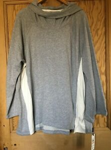 2xl Nwt's Klein Sz Performance Sweat Velour cream Calvin Hooded Top Panels Grey RqCnPv