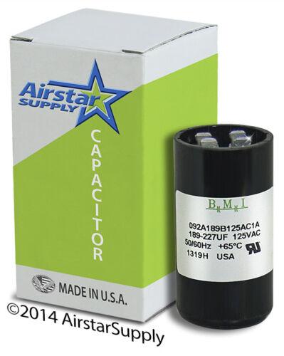Motor Start Capacitor 189-227 uF MFD 110 125 VAC MARS 11015 JARD 11915 PMJ189