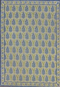 Stark Green & Blue Pine Cone Hand-Needlepoint Area Rug Hand-Made in Greece
