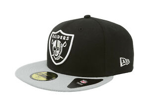 New Era 59Fifty Cap NFL Oakland Raiders Mens Black Gray Custom ... bdfac3907a9