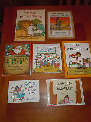 7 Books Tomie dePaola Bible Stories Miracle On 34th Street Mother Goose Art EUC