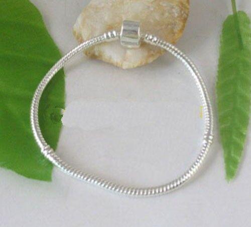 5PCS Silver plated European Style Charm Bracelets 20cm W2528