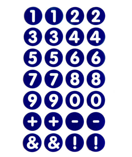 """13mm 0.5/"""" Round Circular White on Blue Numbering Labels Number Stickers RCN7968"""
