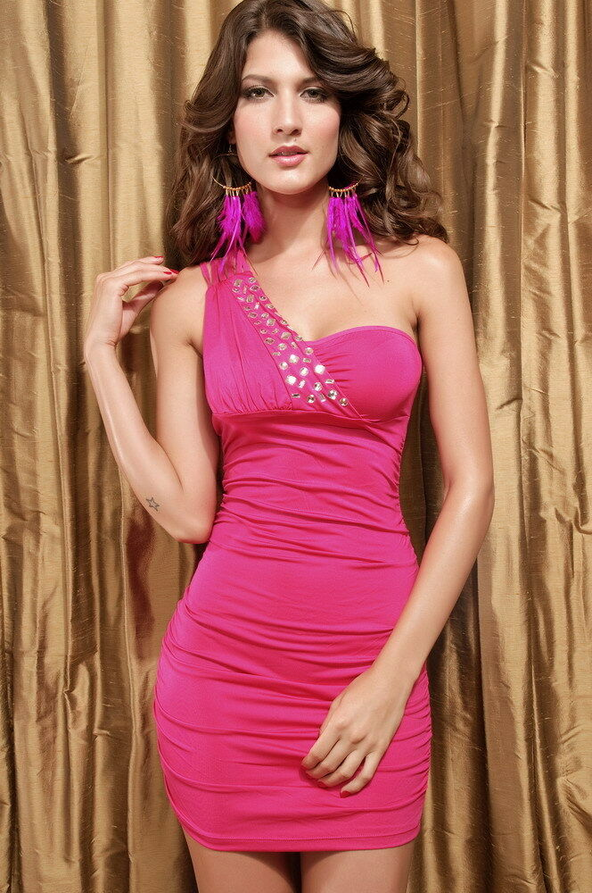 Hot Pink Mini Dress One Shoulder Jewel Stretch Ruched Club One Size 2492