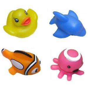 4 Floating Blinkers Bath Toy Flashing Light Up Water Animal Fish Toddler Kids