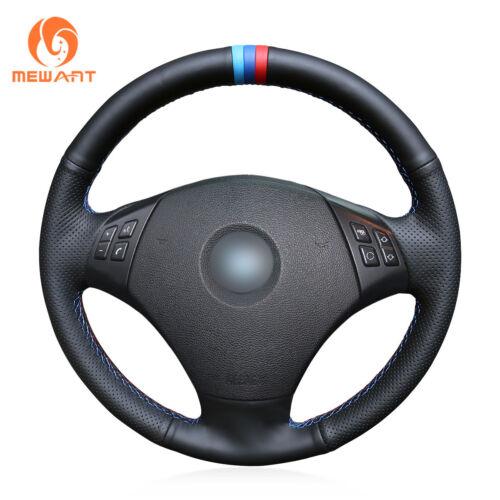 Black Leather Steering Wheel Cover for BMW E90 320 318i 320i 325i  #01193