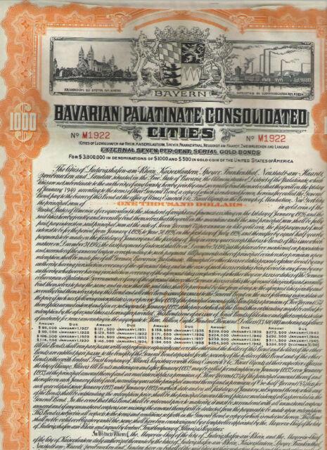 Bavarian Palatinate Cons. Cities...1926, Gold-Bond 1000$, orange