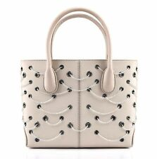 TODS Beige Ivory Satin Beaded Grommet Mini Tote Evening Handbag Purse