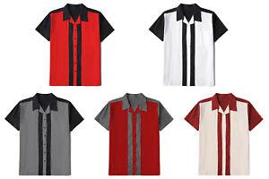 Men-Stripe-Vintage-Cotton-Shirts-Short-Sleeve-Casual-Rockabilly-Bowling-Shirt
