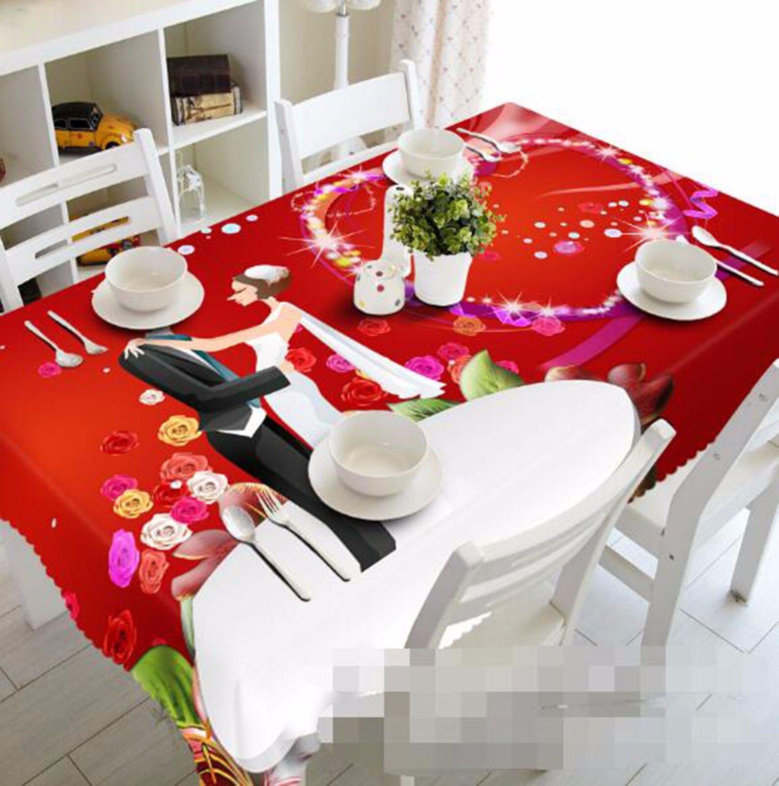 3D CARICATURE 417 Nappe Table Cover Cloth fête d'anniversaire AJ papier peint Royaume-Uni Citron