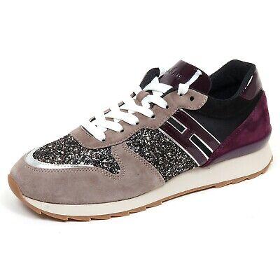 F7086 sneaker donna taupe/purple/black HOGAN R261 scarpe glitter shoe woman | eBay