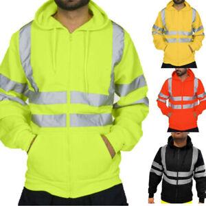 Hi-Vis-Men-039-s-Safety-Visibility-Bomber-Hooded-Sweatshirt-Pullover-Hoodie-Coat-NBE