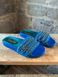 Chanel-Blue-Slides-with-Gold-Chains-Dangles-CC-Charm-size-38-IT-8-US