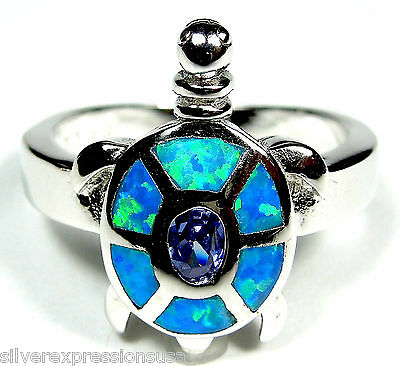 Tanzanite & Blue Fire Opal Inlay Solid 925 Sterling Silver Turtle Ring 5.5 - 8.5