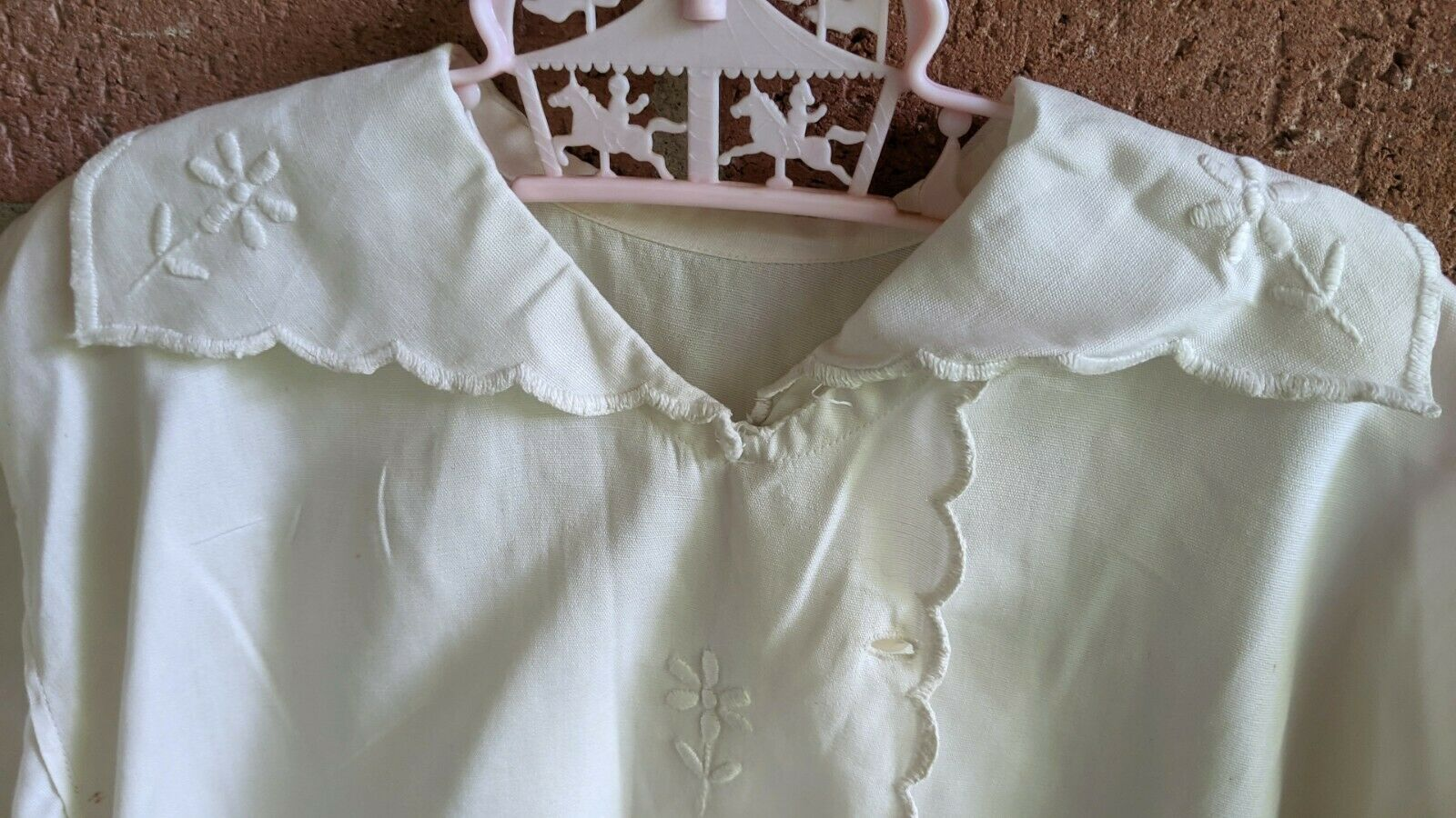 Antique Victorian Shirt White Blouse Embroidered … - image 3