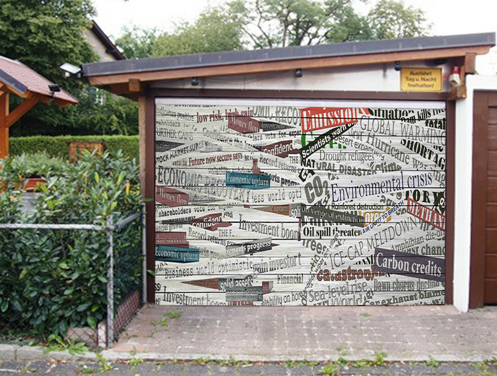 3D News Headlines Garage Door Murals Wall Print Decal Wall Deco AJ WALLPAPER IE