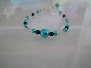 Bracelet-bleu-turquoise-noir-p-robe-de-Mariee-Mariage-Soiree-perles-pas-cher