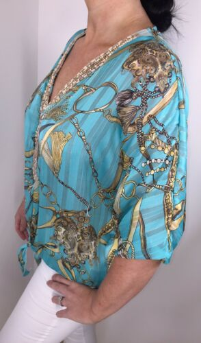 NEW Chain Print Top Silky Beaded Turquoise Gold Thread Floaty Cool Soft One Size