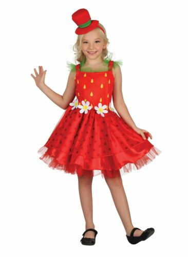 Girls Strawberry Costume Kids Food Fancy Dress Outfit Book Week Story Dressup