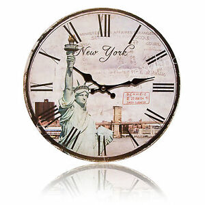stylische wanduhr new york paris london pr z quarzwerk 29 cm neu ebay. Black Bedroom Furniture Sets. Home Design Ideas