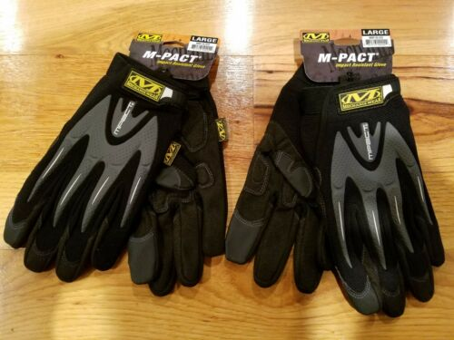 L MECHANIX WEAR M-PACT GLOVES GREY - BLACK LARGE-Brand New-2.Pairs
