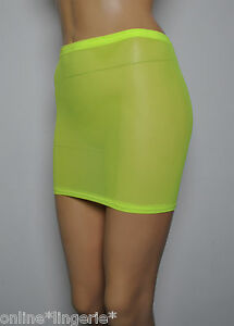 Mini-Skirt-Neon-Yellow-Flo-Net-Mesh-See-Through-Sheer-Sexy-Lingerie-Womens-S57