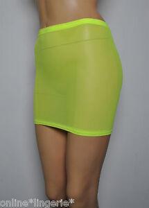 Mini-Skirt-Neon-Yellow-Flo-Fish-Net-Mesh-See-Through-Sheer-Lingerie-Womens-S57