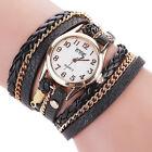 Vintage Women Watches Stainless Steel Leather Bracelet Girls Quartz Wrist Watch