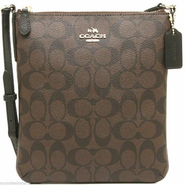 Coach F58309 Signature Ns Crossbody Bag Handbag Brown Black