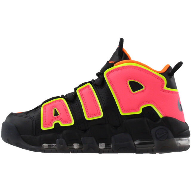 outlet store 858b4 72689 Nike W Air More Uptempo Black Hot Punch Volt Pippen 917593-002 Womens Size  8