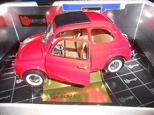 Fiat-500-F-rossa-1965-cod-3304-Burago-gold-collection-1-16-no-1-18-1-10-nuova