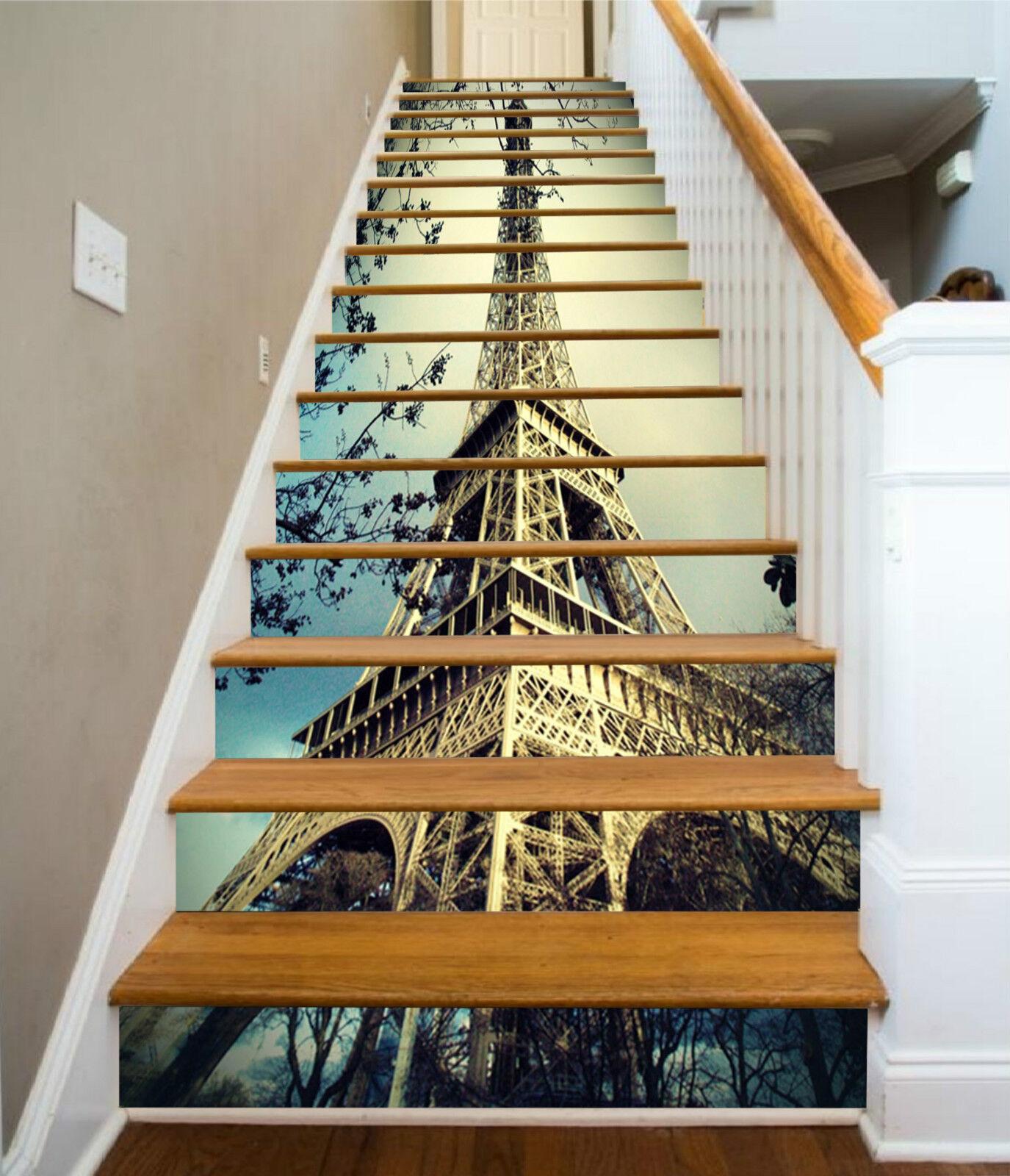 3D Eiffelturm 082 Stair Risers Dekoration Fototapete Vinyl Aufkleber Tapete DE