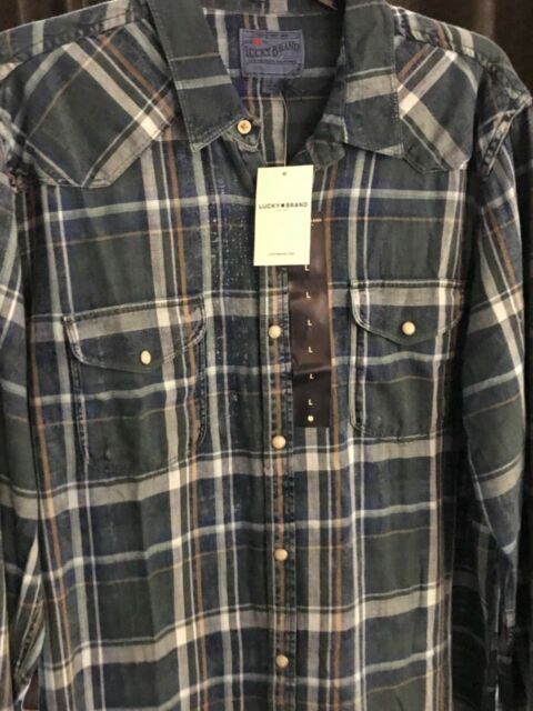 NWT $79.50 Lucky Brand Men's LS Western Pearl-Snap Vintage Style Plaid Shirt XXL
