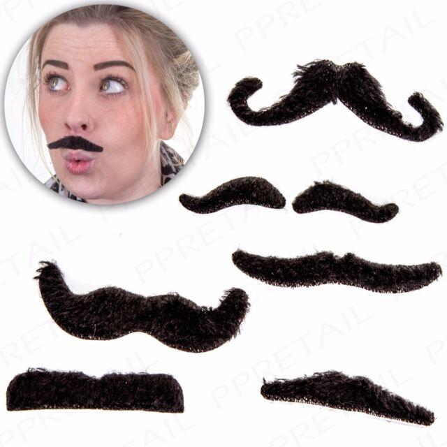 12 X Fun Stick On Party Moustaches Black Fancy Dress Fake Facial