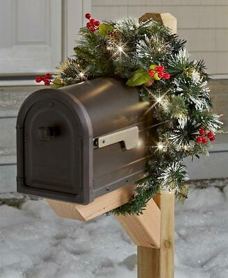 Christmas Mailbox.Lighted Weatherproof Frosted Pine Christmas Mailbox Swag Cover Ebay