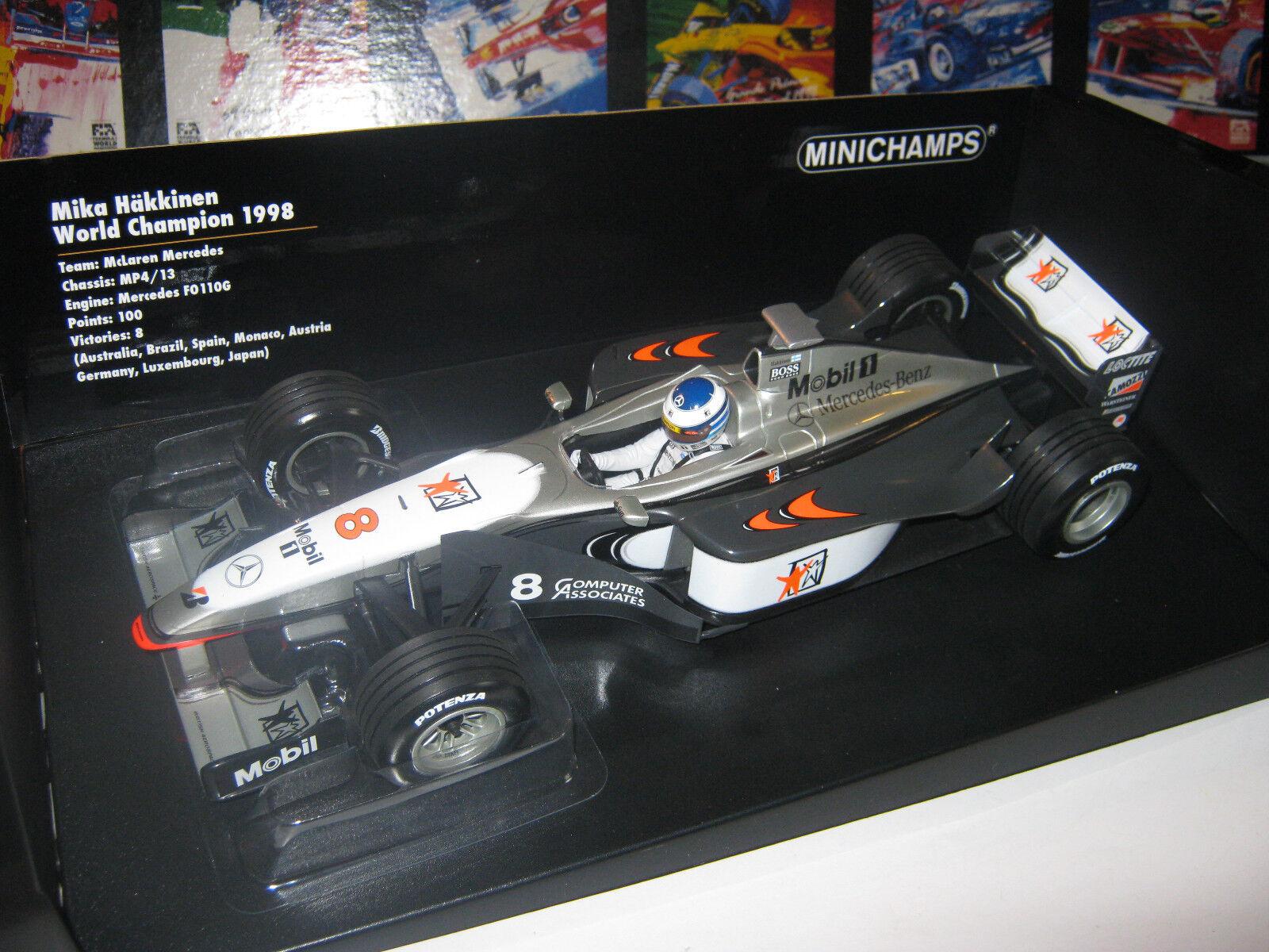 1 18 McLaren Mercedes mp4 13 WC M. Hakkinen 1998 Minichamps 186980008 neuf dans sa boîte New