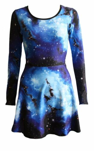 Women/'s Blue Galaxy Planets Cosmos Long Sleeve Flared Skater Swing Mini Dress