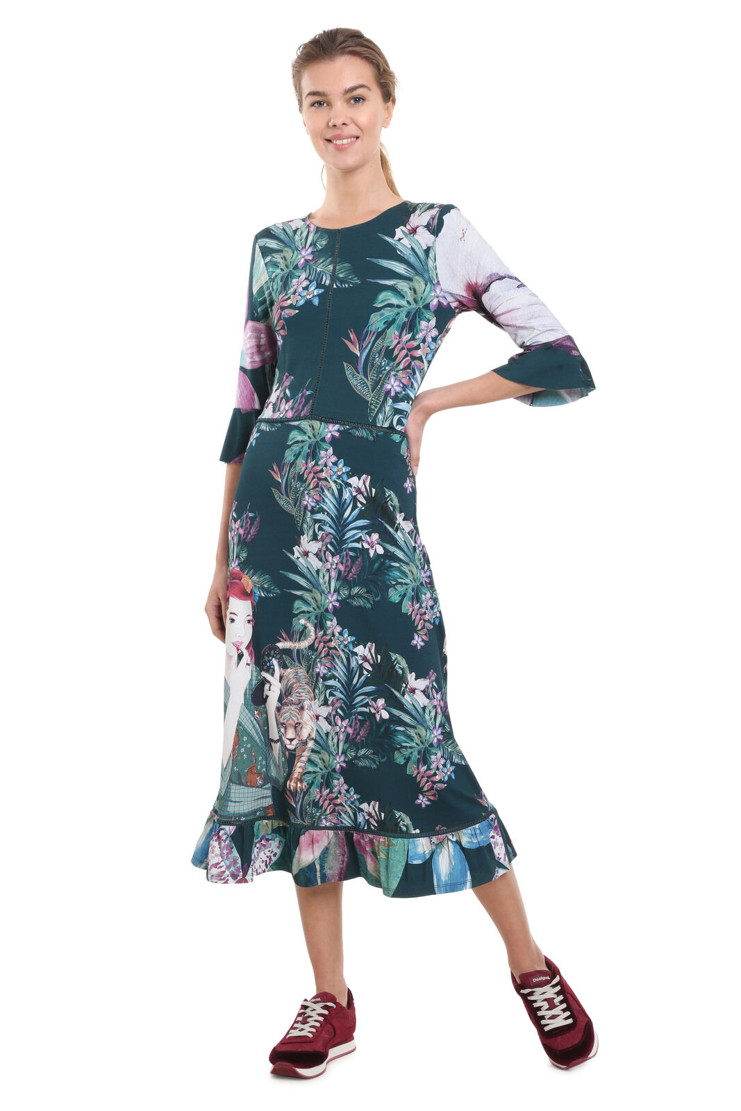 Desigual Kiruna Dress Jungle & Lion Print 3 4 Sleeve Midi XS-XXL RRP