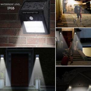Etanche-8-20-25-30-LED-PIR-Lampe-Solaire-Detecteur-de-Mouvement-Mur-Jardin-Cour