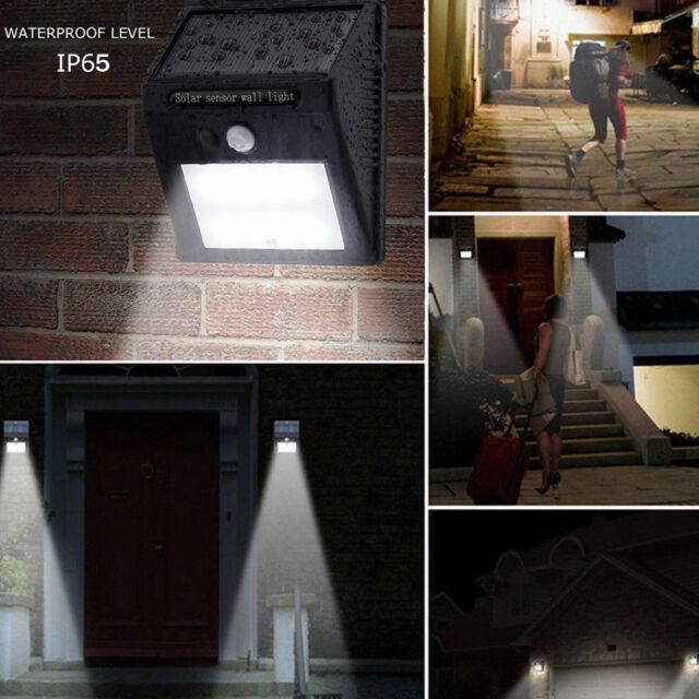 Etanche 8/20/25/30 LED PIR Lampe Solaire Détecteur de Mouvement Mur Jardin Cour