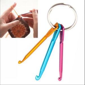 3pcs Aluminum Knit Needle Handle Crochet Hook Needle Weave Yarn Keychain Keyring