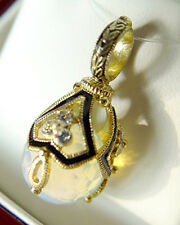 SALE ! GORGEOUS RUSSIAN ENAMEL EGG PENDANT MADE OF STERLING SILVER 925 MOONSTONE