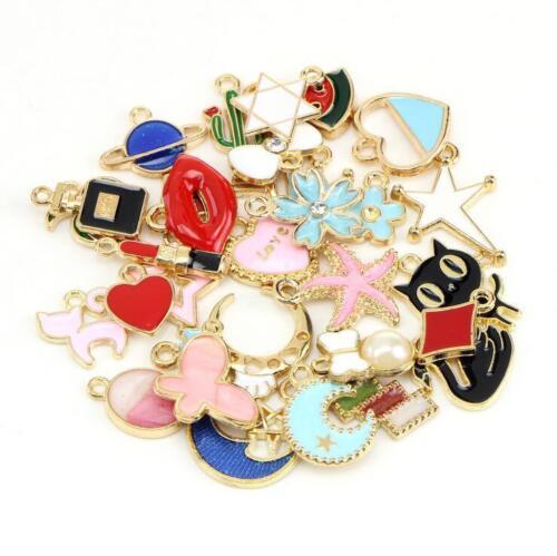 DIY 60pcs Mixed Drop oil Pendant Cartoon Star//moon//Crown Necklace Bracelet craft